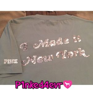 "NWT VS PINK New York Bling ""I Made it!"" Tee XS/S"